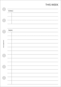 Planner Inserts - A5 Size UNDATED Horizontal Weekly
