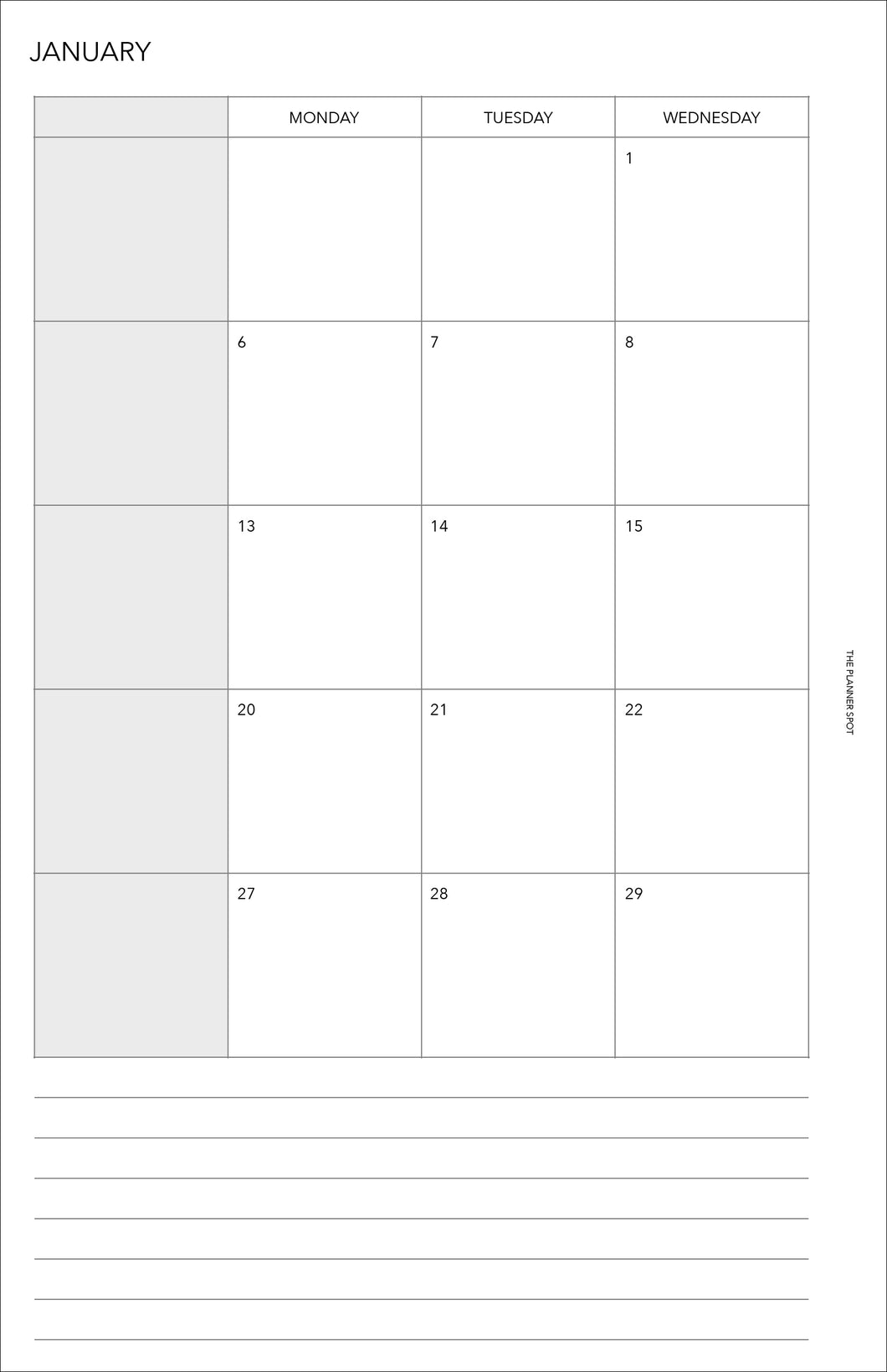 Planner Inserts - Half Letter Size Monthly - Dated January to December 2020