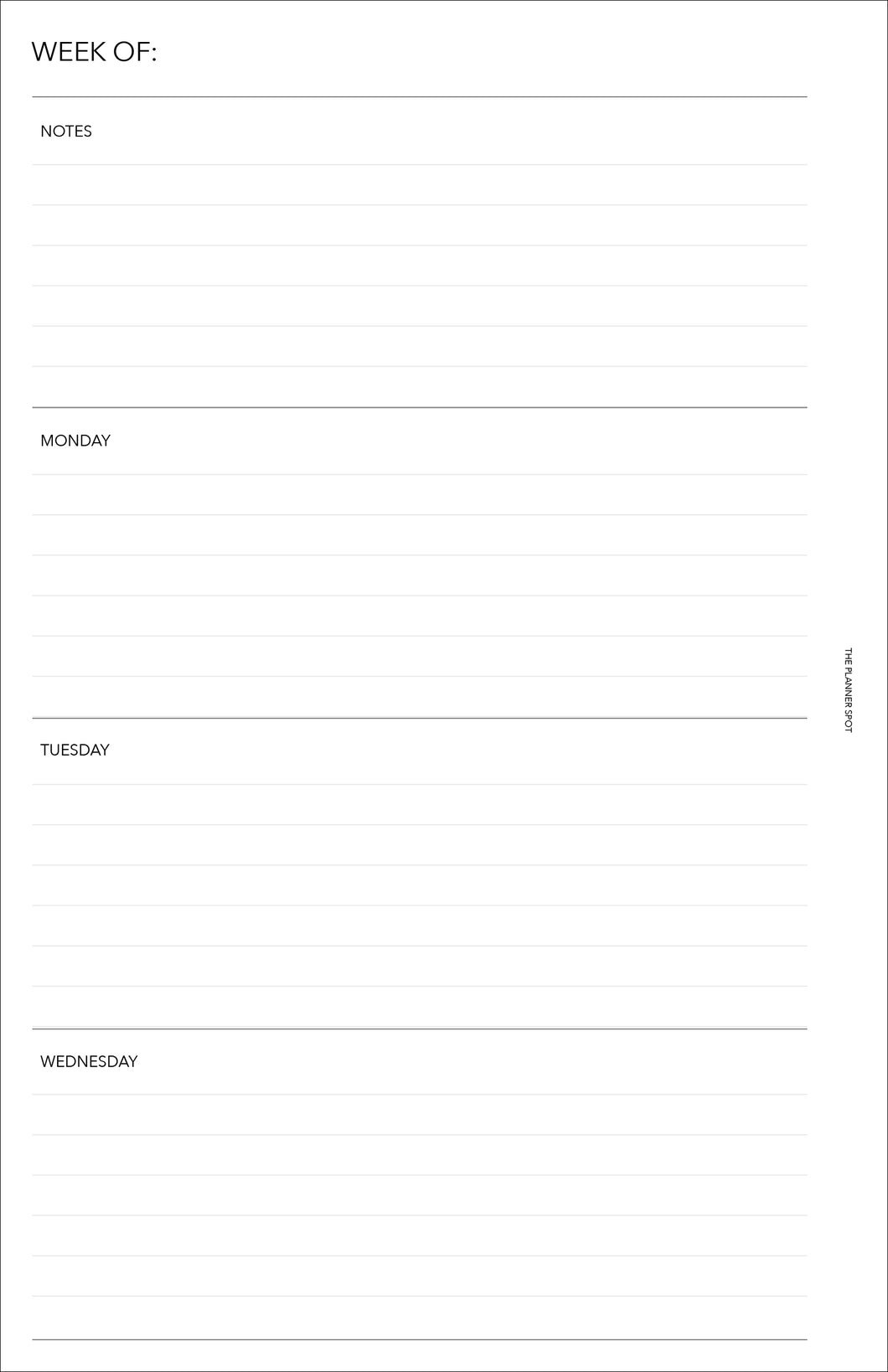 Planner Inserts - Half Letter Size UNDATED Horizontal Weekly