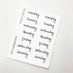 Lettering Planner Stickers - Days