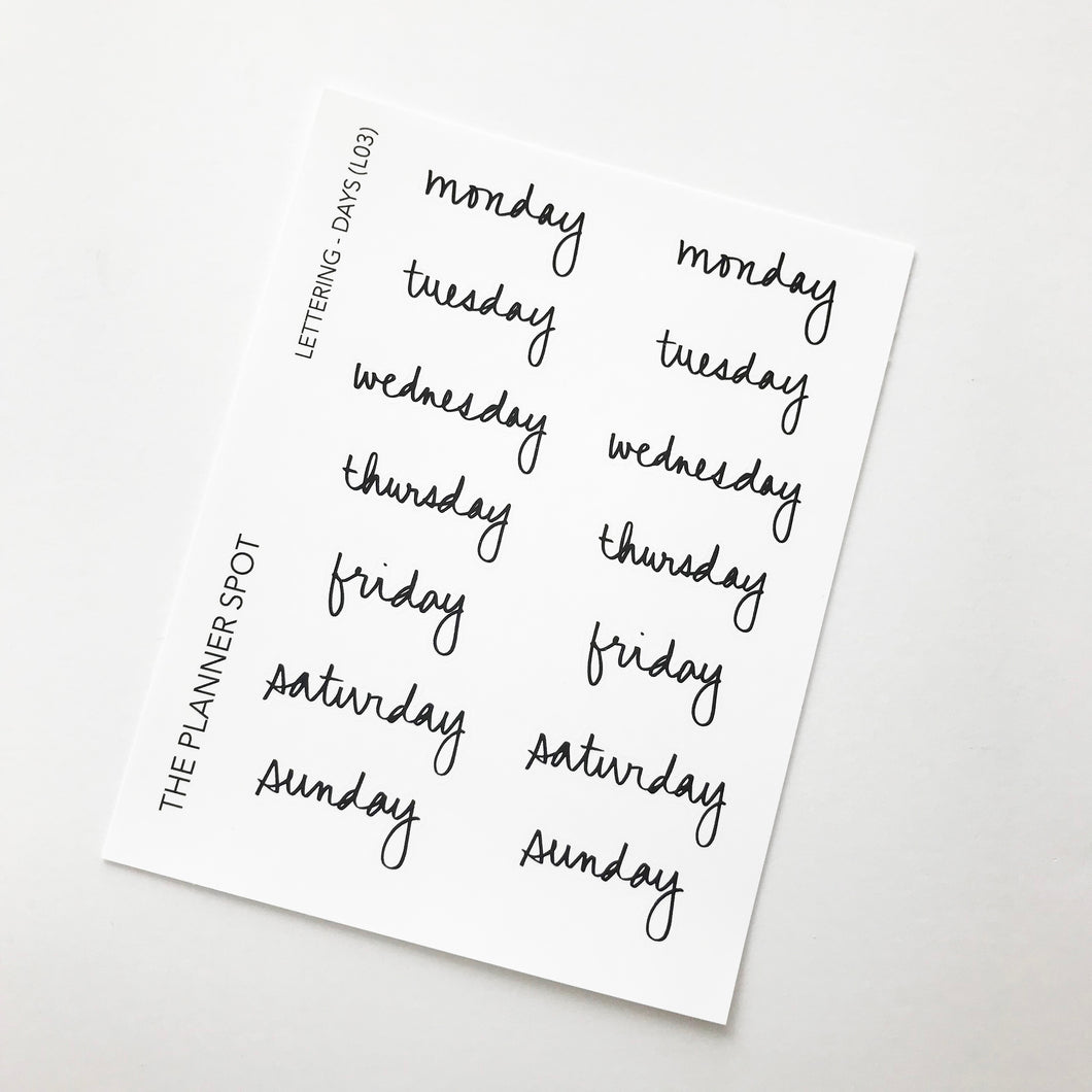 Hand Lettering Planner Stickers - Days