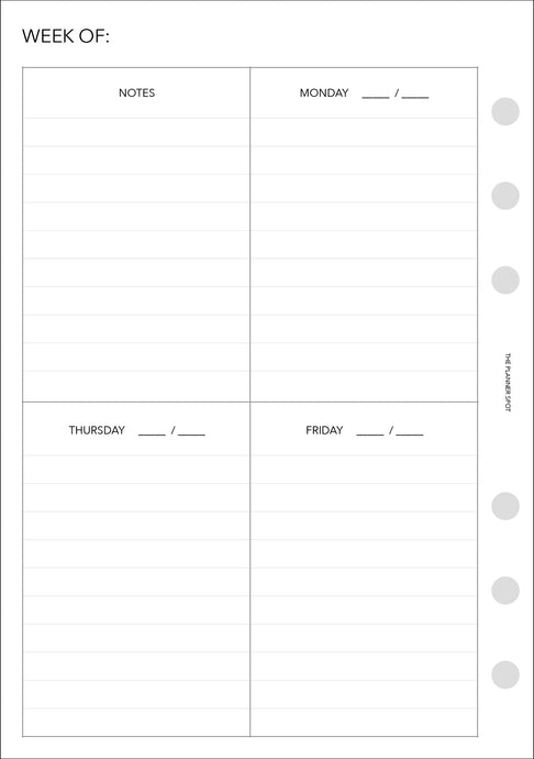 CLEARANCE - Planner Inserts - Personal Wide Size UNDATED Vertical Weekly