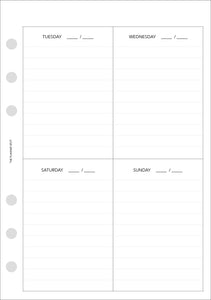 Planner Inserts - Personal Wide Size UNDATED Vertical Weekly