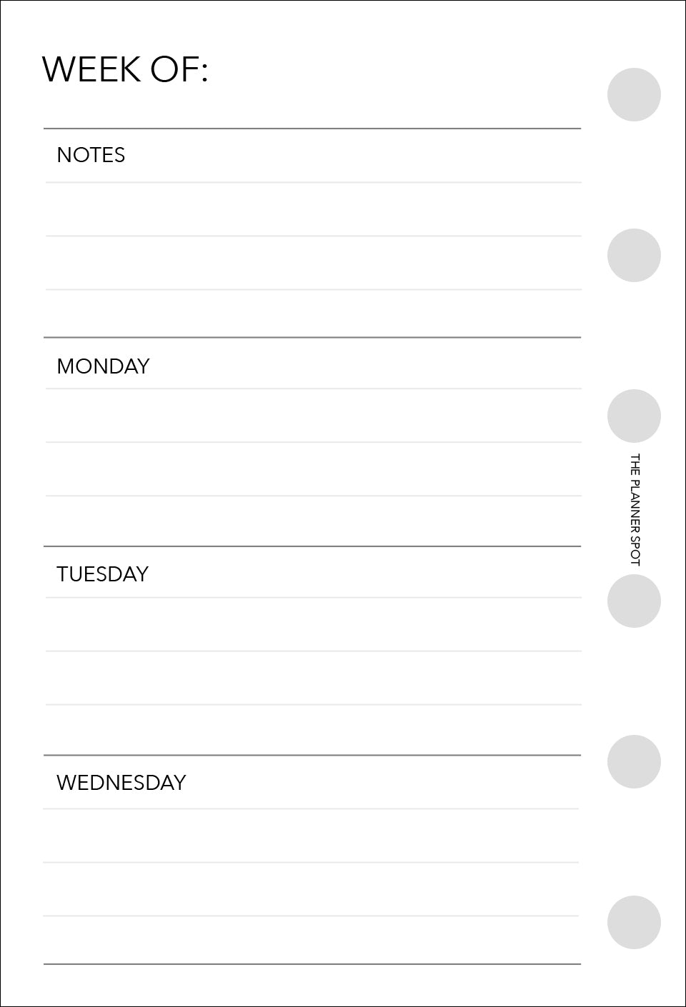 Planner Inserts - Pocket Size UNDATED Horizontal Weekly