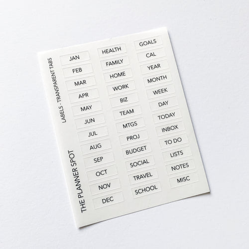 Functional Planner Stickers - Clear Tab Labels