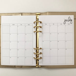 Planner Inserts - A5 Size Monthly - Dated July 2019 to June 2020