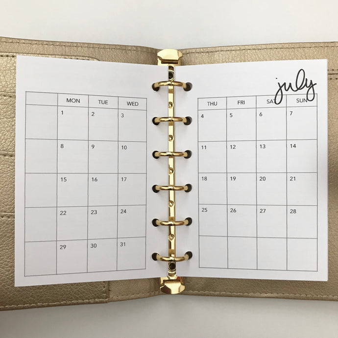 Planner Inserts - Pocket Size Monthly - Dated July 2019 to June 2010