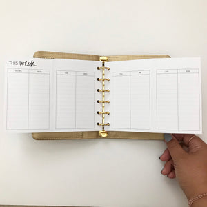 Planner Inserts - Pocket Size UNDATED Weekly Foldout