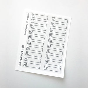 Functional Planner Stickers - Icon Boxes