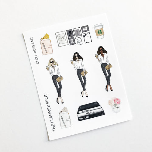 Decorative Planner Stickers - Boss Babe