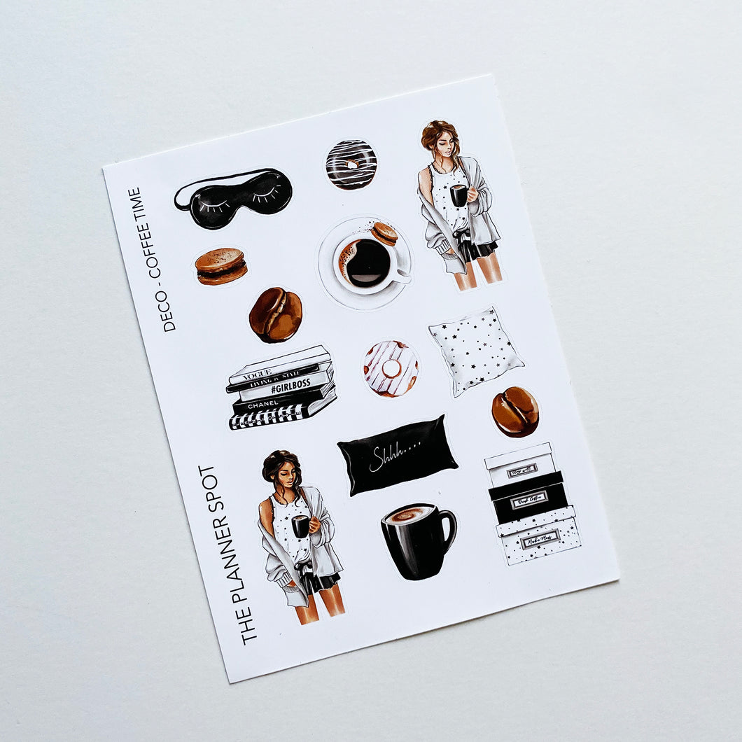 Decorative Planner Stickers - Coffee