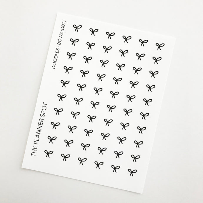 Doodle Planner Stickers - Bows