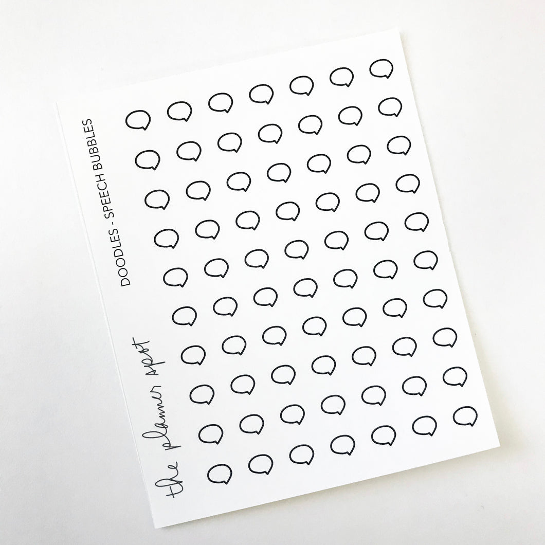 Doodle Planner Stickers - Mini Speech Bubbles