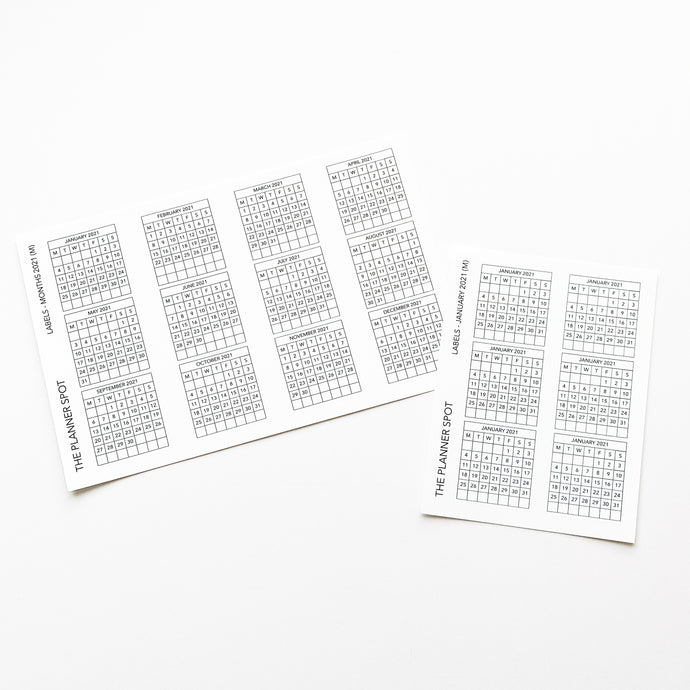 Functional Planner Stickers - Dated Monthly Labels