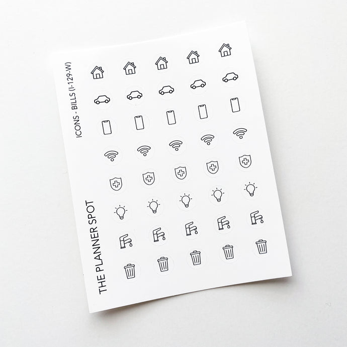 Icon Planner Stickers - Bills
