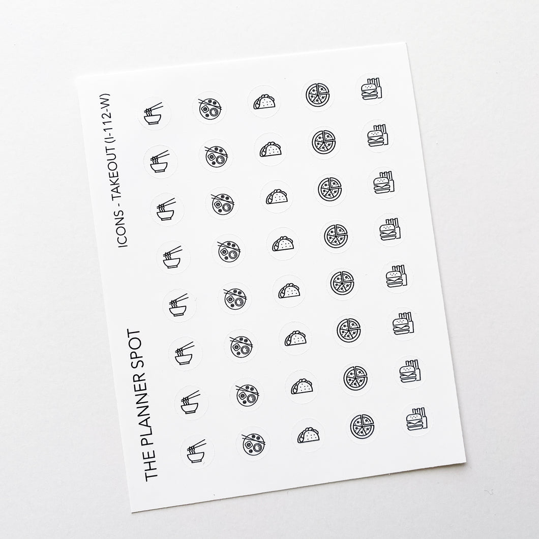 Icon Planner Stickers - Takeout Food