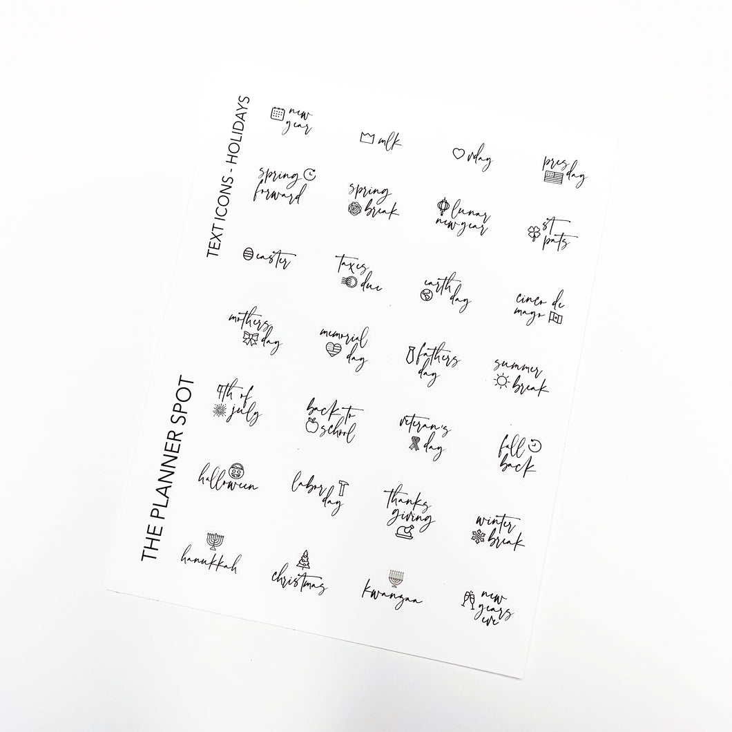 Script Planner Stickers - Holidays