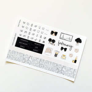 "Monthly Kit Planner Stickers - February ""Fancy"""