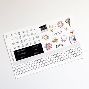 "Monthly Kit Planner Stickers - March ""Spring"""