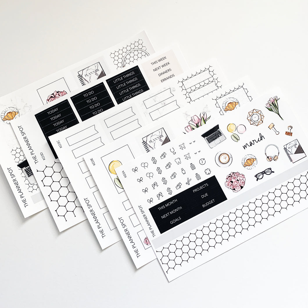 Monthly Kit Planner Stickers - March