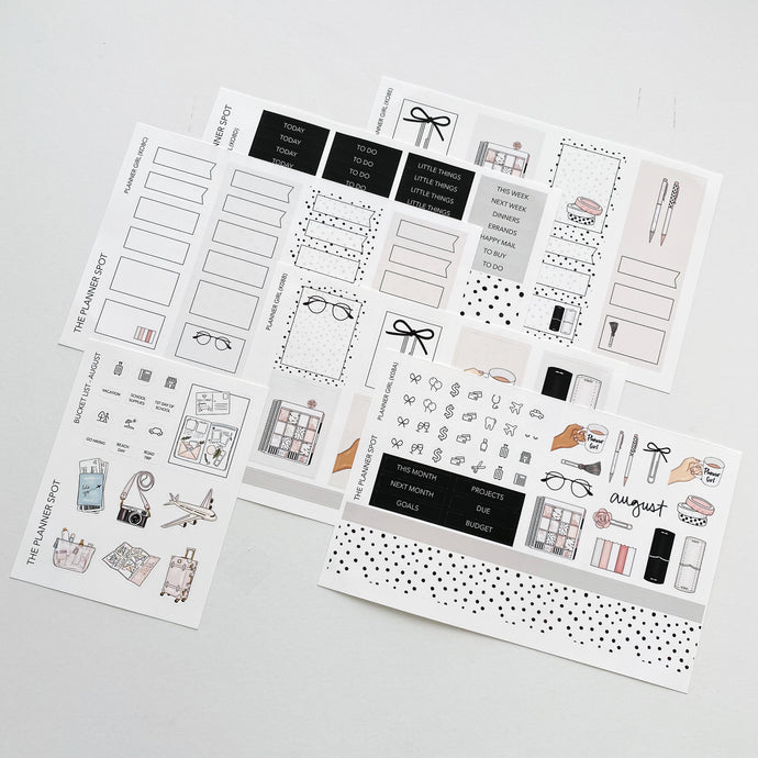 Monthly Kit Planner Stickers - August