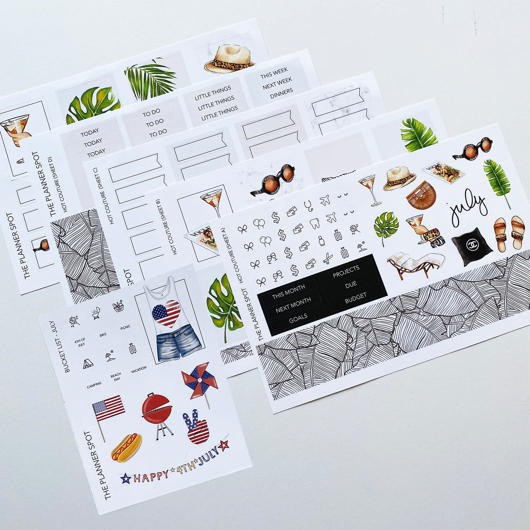 Monthly Kit Planner Stickers - July
