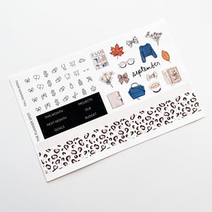"Monthly Kit Planner Stickers - September ""Fall Fashion"""