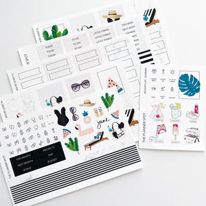 "Monthly Kit Planner Stickers - June ""Resort"""
