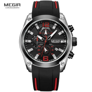 Men's Chronograph Watch with Date, Luminous Hands, Waterproof, Silicone Rubber Strap, and So Much More