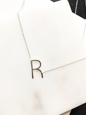 Petite High Polished Initials- Silver