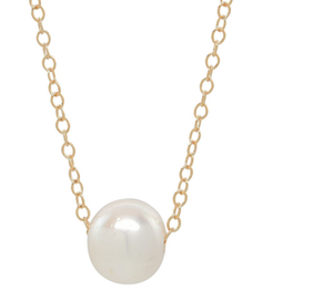 Simple Solitaire Pearl Necklace - Gold Tone