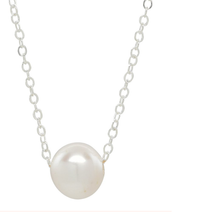 Load image into Gallery viewer, Simple Solitaire Pearl Necklace - Sterling Silver
