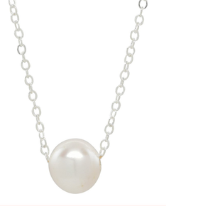Simple Solitaire Pearl Necklace - Sterling Silver