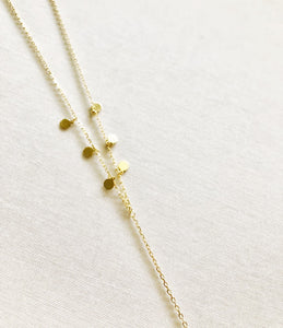 925 sterling silver/gold plated Y Necklace with mini disc that twinkle and sparkle with every move you make