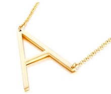 Load image into Gallery viewer, Be Bold Silver/Gold Tone Block Letter Necklace - A