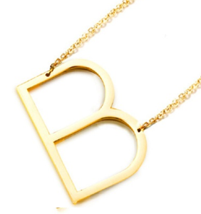 Be Bold Silver/Gold Tone Block Letter Necklace - B