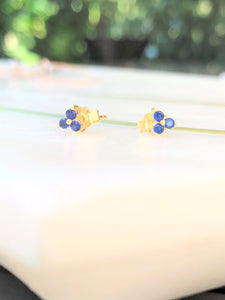 Blue Tri Stone Petite Earrings