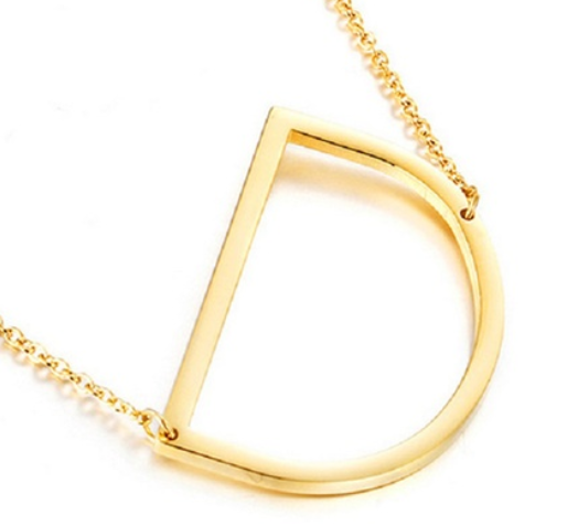 Be Bold Silver/Gold Tone Block Letter Necklace - D