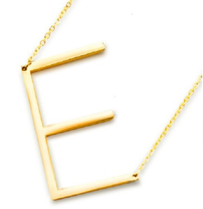Be Bold Silver/Gold Tone Block Letter Necklace - E