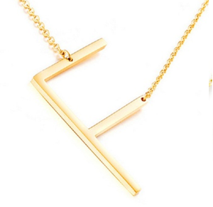 Be Bold Silver/Gold Tone Block Letter Necklace - F