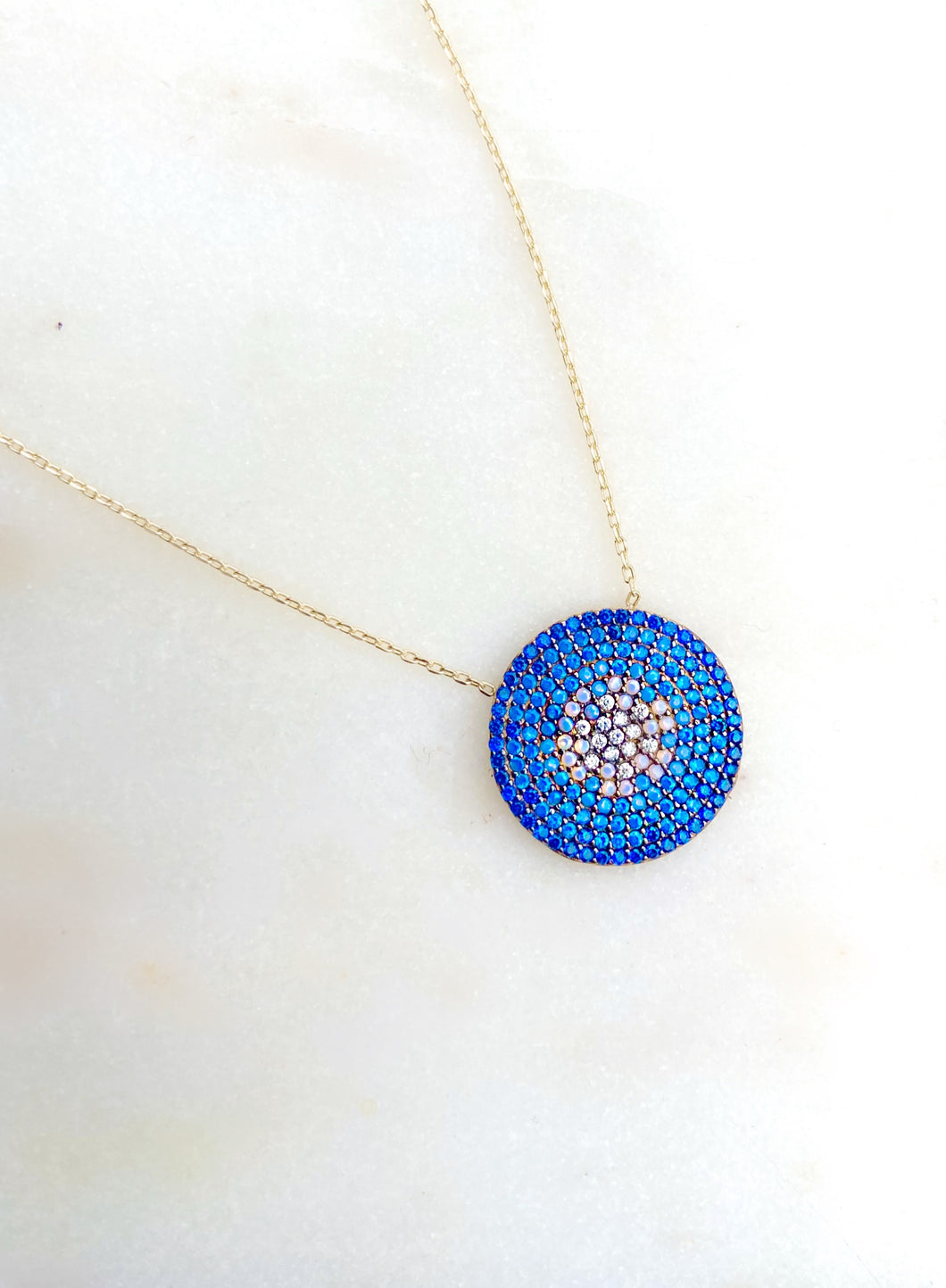 Sterling Silver Gold Plate Pure Blue Medallion Necklace