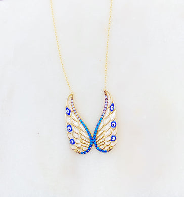 Sterling Silver Gold Plated Angel Butterfly Wings Necklace
