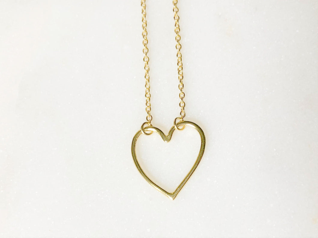 Open Heart Necklace - Gold Tone