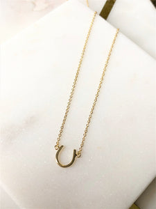 Sterling Silver 14K Gold Plated Horseshoe Necklace
