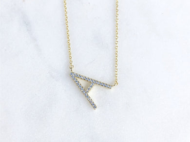 Petite Gold Tone Pave CZ Initial - A