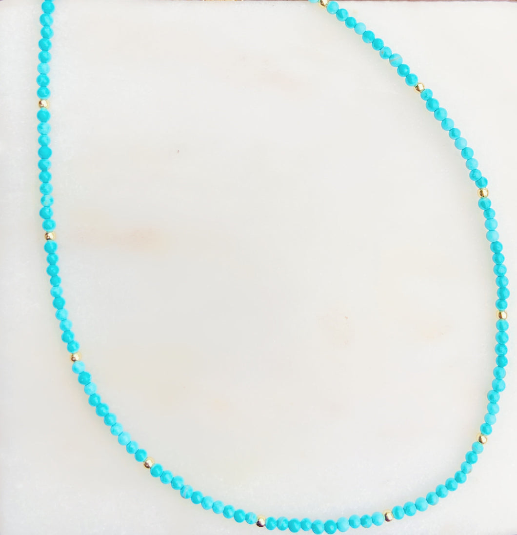 Sterling Silver Gold Plated Turquoise Choker
