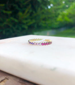 Gold Plated Silver Rainbow Bezel Band