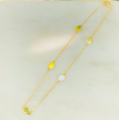 Sterling Silver Gold Plated Anklet with Diamond Shape Links