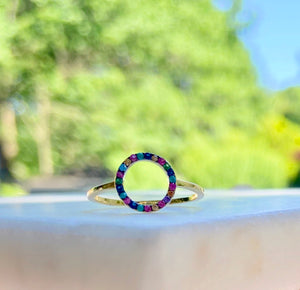 Sterling Silver/Gold Plated Ring -  Circle of Life is a Rainbow