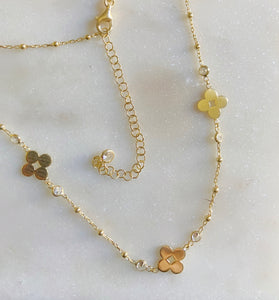 Sterling Silver Gold Plated Flower Petals CZ Choker Necklace